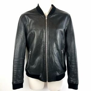 Mens Lamarque Tate Bomber Black Leather Jacket